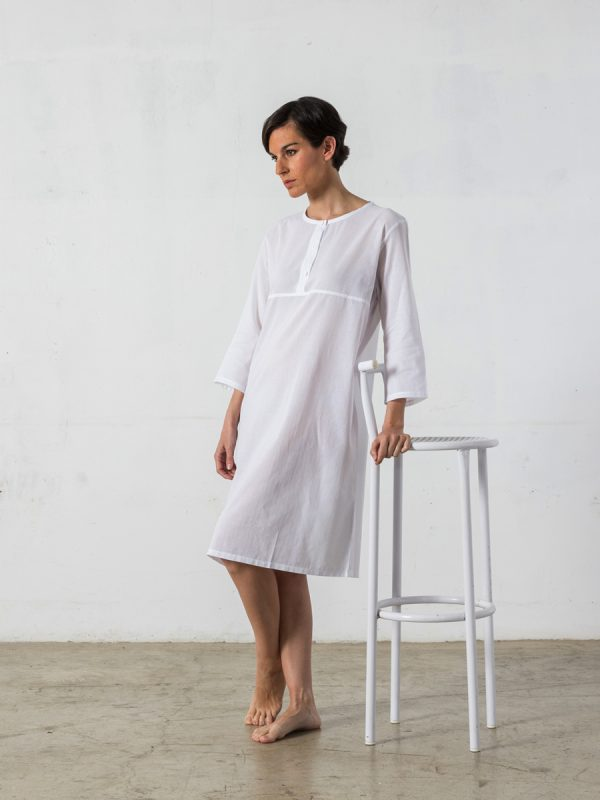 Nightgown made, rounded-collar, 3/4-sleeved - Oncohelp