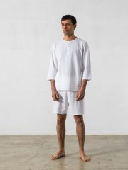 Pijama corto de 2 piezas, manga 3/4, cuello redondo – Oncohelp