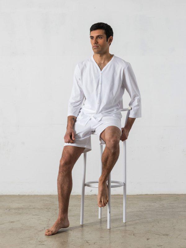 Pijama corto de 2 piezas, manga 3/4 cuello pico - Oncohelp