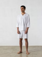 Pijama corto de 2 piezas, manga 3/4 cuello pico – Oncohelp