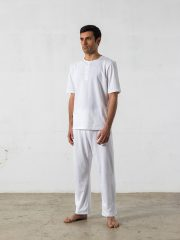 Pijama largo de 2 piezas, cuello redondo – Oncohelp