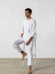 Pijama largo de 2 piezas, manga 3/4, cuello redondo – Oncohelp