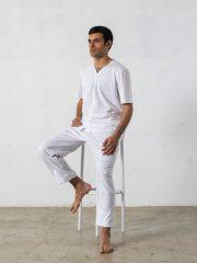 Pijama largo de 2 piezas, manga corta, cuello pico – Oncohelp
