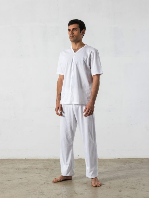 2- piece long pyjama, Short-sleeved V-neck T-shirt - Oncohelp