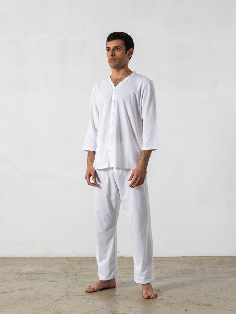 Pijama largo de 2 piezas, manga 3/4, cuello pico - Oncohelp
