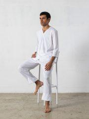 Pijama largo de 2 piezas, manga 3/4, cuello pico – Oncohelp